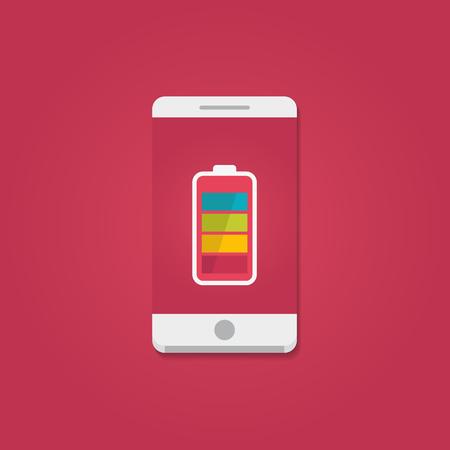 Ilustración de Smartphone with full battery on the screen. Flat vector illustration. - Imagen libre de derechos
