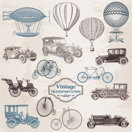 Vector Set Vintage Transportation - collection of old-fashioned illustrations  mural