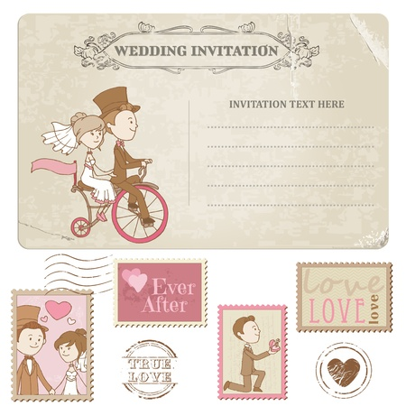 Illustration for Wedding Postcard and Postage Stamps - for wedding design, invitation, congratulation, scrapbook - Royalty Free Image