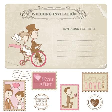 Foto de Wedding Postcard and Postage Stamps - for wedding design, invitation, congratulation, scrapbook - Imagen libre de derechos