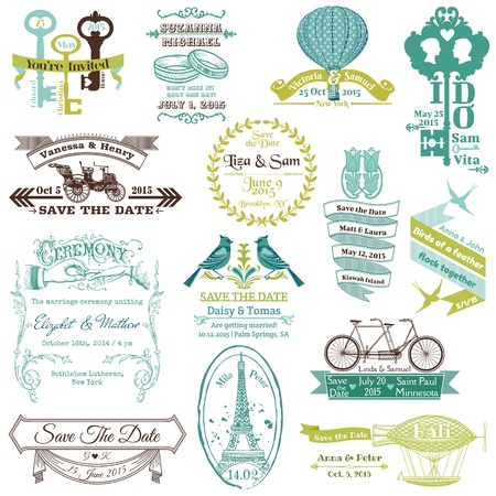 Foto de Wedding Vintage Invitation Collection - for design, scrapbook  - Imagen libre de derechos