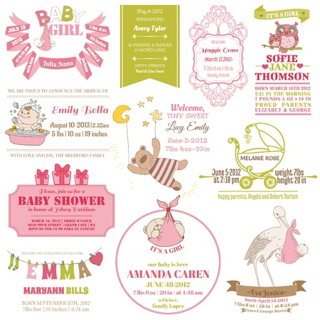 Photo pour Baby Arrival and Shower Collection - for card design, scrapbook - in vector - image libre de droit