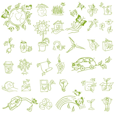 Ecology and recycle icons - hand drawn