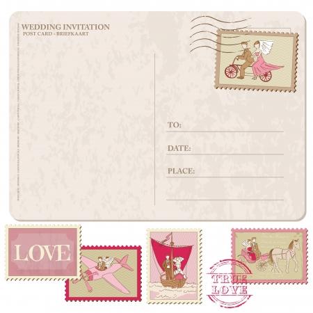 Illustration pour Wedding Invitation - Vintage Postcard with Postage Stamps - for design and scrapbook  - image libre de droit