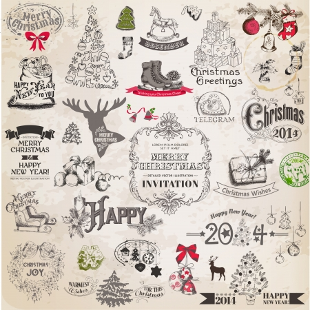 Illustration pour Christmas Calligraphic Design Elements and Page Decoration, Vintage Frames  - image libre de droit