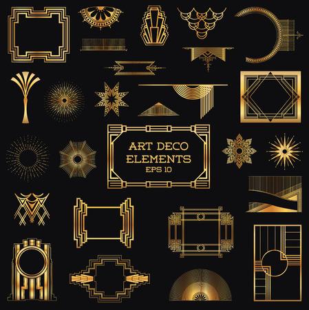 Ilustración de Art Deco Vintage Frames and Design Elements - Imagen libre de derechos