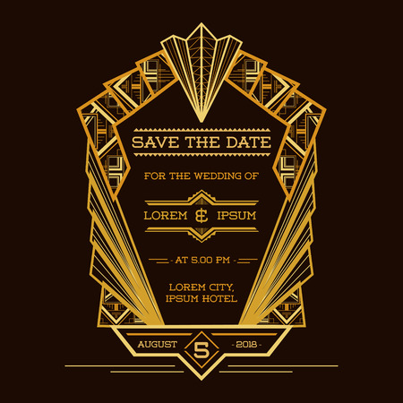 Illustration for Save the Date - Wedding Invitation Card - Art Deco Vintage Style - in vector - Royalty Free Image