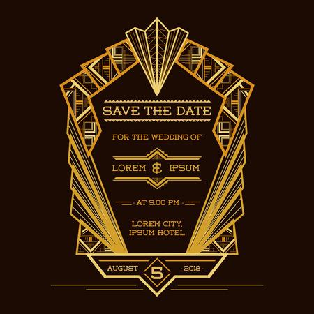 Ilustración de Save the Date - Wedding Invitation Card - Art Deco Vintage Style - in vector - Imagen libre de derechos