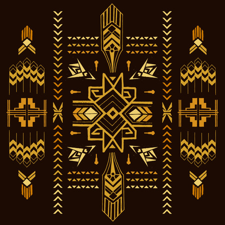 Illustration for Tribal Vintage Aztec Background - hand drawn in vector - Royalty Free Image