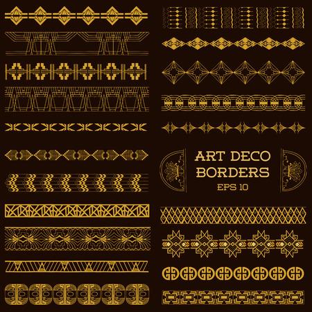 Ilustración de Art Deco Vintage Borders and Design Elements - hand drawn in vector - Imagen libre de derechos