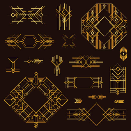 Illustration for Art Deco Vintage Frames and Design Elements - hand drawn in vector - Royalty Free Image