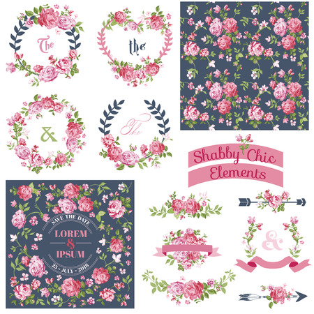 Photo pour Vintage Floral Set - Frames, Ribbons, Backgrounds - for design and scrapbook - in vector - image libre de droit