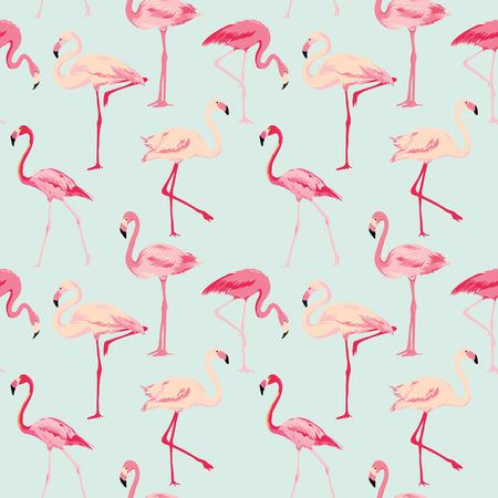 Photo pour Flamingo Bird Background - Retro seamless pattern in vector - image libre de droit