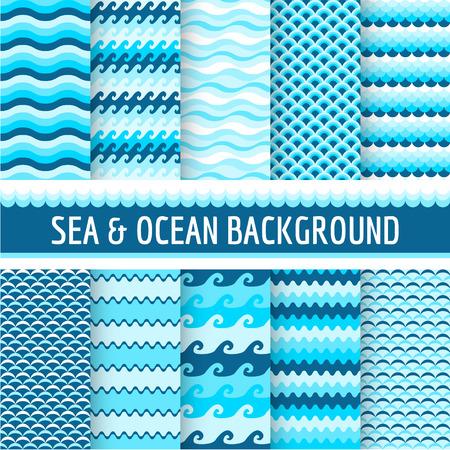 Illustration pour 10 Seamless Patterns  Nautical Sea Theme  in vector - image libre de droit