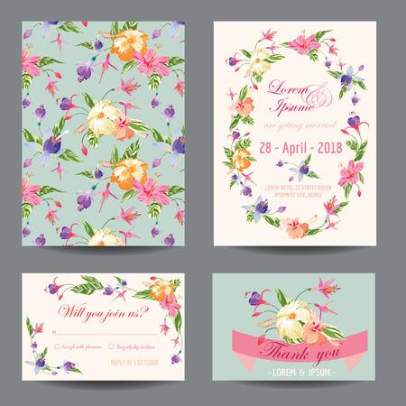 Illustration pour Invitation/Congratulation Card Set - for Wedding, Baby Shower - in vector - image libre de droit