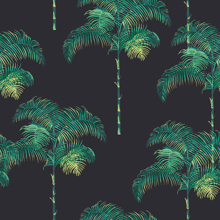 Photo for Tropical Palm Trees Background - Vintage Seamless Pattern - in vector - Royalty Free Image