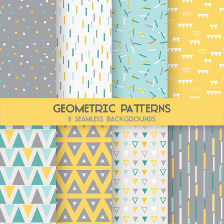 Illustration pour 8 Seamless Geometric Patterns - Texture for wallpaper, background, textile, scrapbook - in vector - image libre de droit
