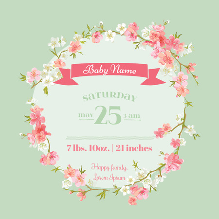 Photo for Baby Shower or Arrival Cards - with Spring Blossoms - in vector - Royalty Free Image