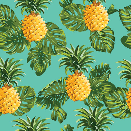 Ilustración de Pinapples and Tropical Leaves Background -Vintage Seamless Pattern - in vector - Imagen libre de derechos