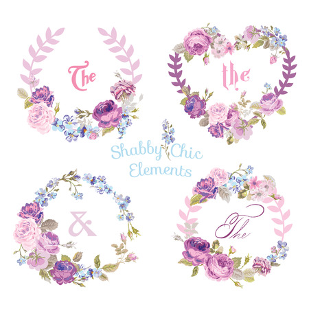 Photo pour Flower Banners and Tags - for your design and scrapbook - in vector - image libre de droit