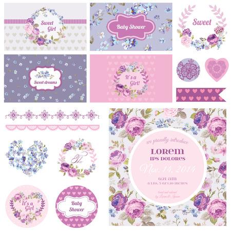 Ilustración de Scrapbook Design Elements - Baby Shower Flower Theme - in vector - Imagen libre de derechos