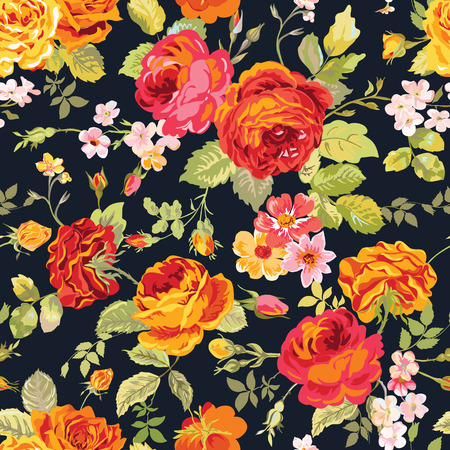 Illustration for Vintage Floral Background - seamless pattern for design, print, scrapbook - in vector - Royalty Free Image