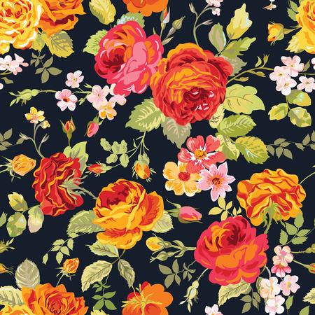 Illustration pour Vintage Floral Background - seamless pattern for design, print, scrapbook - in vector - image libre de droit