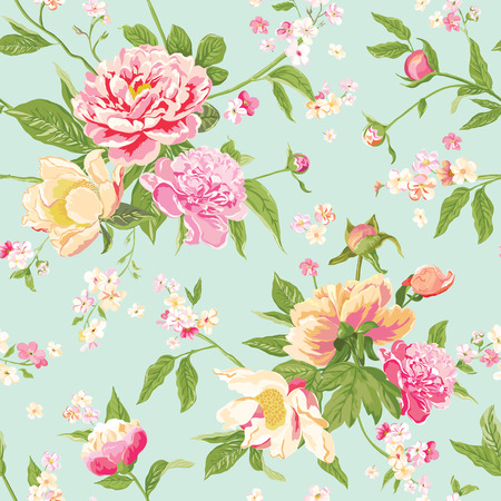 Ilustración de Vintage Peony Flowers Background - Seamless Floral Shabby Chic Pattern - in vector - Imagen libre de derechos