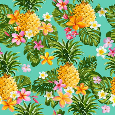 Ilustración de Pinapples and Tropical Flowers Background -Vintage Seamless Pattern - in vector - Imagen libre de derechos