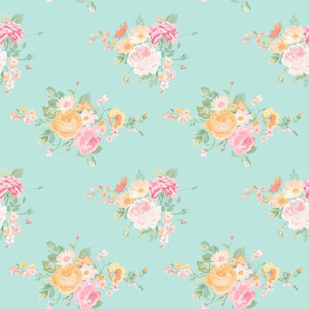 Ilustración de Vintage Flowers Background - Seamless Floral Shabby Chic Pattern - in vector - Imagen libre de derechos