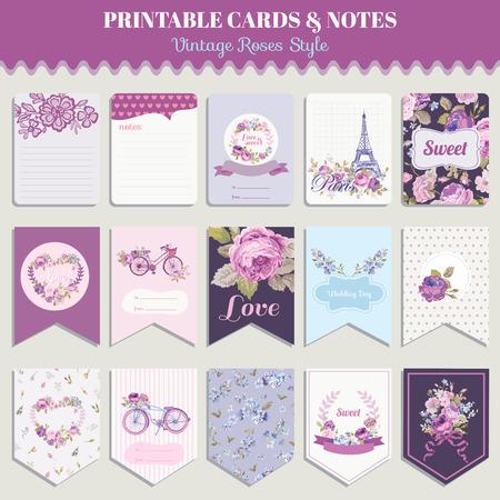 Illustration pour Vintage Flowers Card Set - for birthday, wedding, baby shower, party, design - in vector - image libre de droit