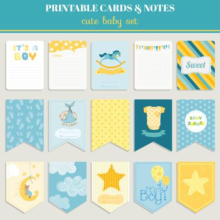 Ilustración de Baby Boy Card Set - for birthday, baby shower, party, design - in vector - Imagen libre de derechos