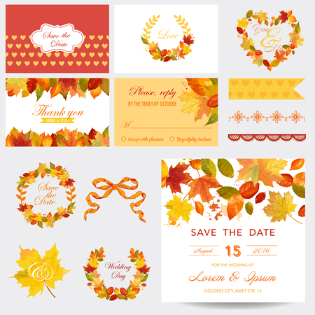 Illustration pour Scrapbook Design Elements - Autumn Leaves Theme - Wedding or Baby Shower Set- in vector - image libre de droit