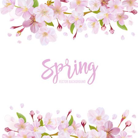 Ilustración de Cherry Blossom Spring Background - in vector - Imagen libre de derechos