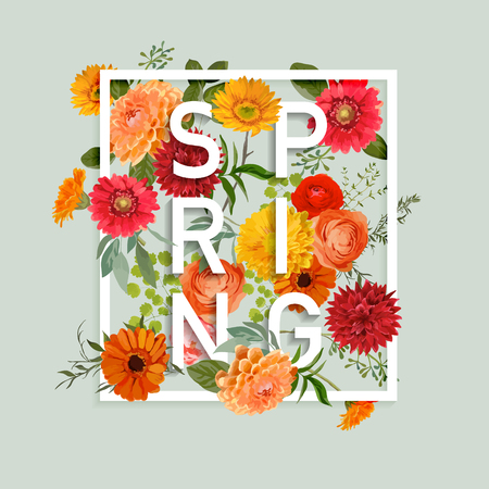 Illustration pour Floral Spring Graphic Design - with Colorful Flowers - for t-shirt, fashion, prints - in vector - image libre de droit