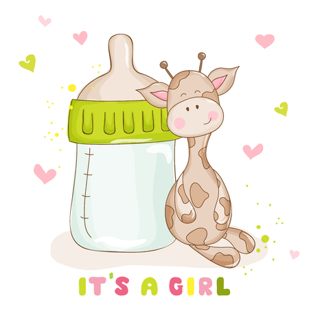 Illustration pour Baby Shower or Baby Arrival Cards - Cute Baby Giraffe - - image libre de droit