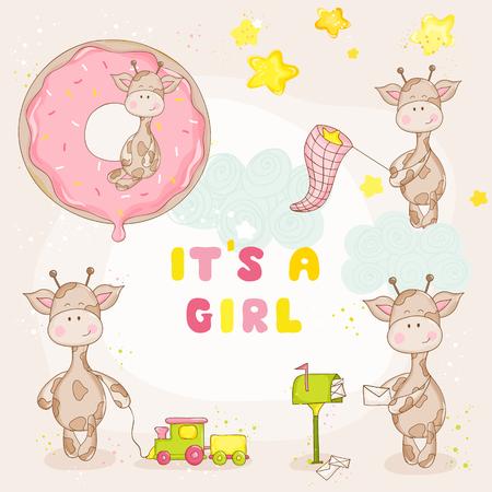 Ilustración de Baby Girl Giraffe Set - Baby Shower or Arrival Card - Imagen libre de derechos