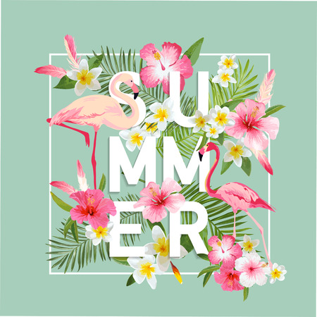 Illustration pour Tropical Flowers Background. Summer Design. Vector. Flamingo Background. T-shirt Fashion Graphic. Exotic Background. - image libre de droit
