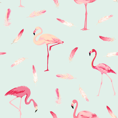 Photo for Flamingo Bird Background. Flamingo Feather Background. Retro Seamless Pattern. Vector Texture. - Royalty Free Image