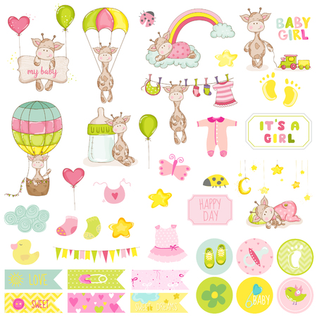 Illustration pour Baby Boy Giraffe Scrapbook Set. Vector Scrapbooking. Decorative Elements. Baby Tags. Baby Labels. Stickers. Notes. - image libre de droit