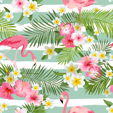 Illustration pour Flamingo Background. Tropical Flowers Background. Vintage Seamless Pattern. Vector Background. - image libre de droit