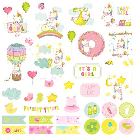 Illustration pour Baby Girl Unicorn Scrapbook Set. Vector Scrapbooking. Decorative Elements. Baby Tags. Baby Labels. Stickers. Notes. - image libre de droit