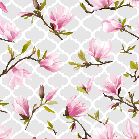 Illustration for Seamless Floral Pattern. Magnolia Flowers and Leaves Background. Exotic Flower. Vector - Royalty Free Image