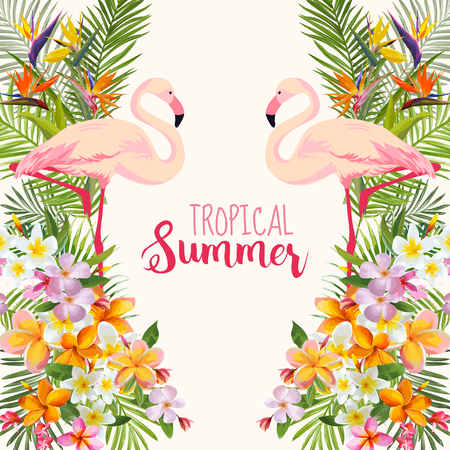 Illustration pour Tropical Flowers. Flamingo Bird. Tropical Background. Tropical Vector. Floral Background. Summer Background. T-shirt Design. - image libre de droit