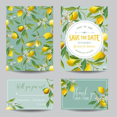 Ilustración de Save the Date Card. Lemon, Leaves and Flowers. Wedding Card. Invitation Card. RSVP. Vector - Imagen libre de derechos
