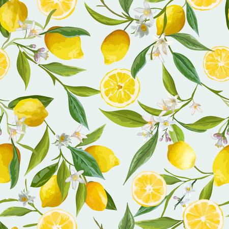 Ilustración de Seamless Pattern. Lemon Fruits Background. Floral Pattern. Flowers, Leaves, Lemons Background. Vector Background. - Imagen libre de derechos