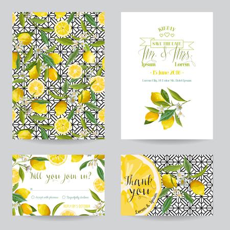 Ilustración de Save the Date - Wedding Invitation or Congratulation Card Set - Lemon Theme - in vector - Imagen libre de derechos