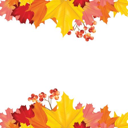 Ilustración de Colorful Card or Banner with Autumn Leaves in Vector with place for Text - Imagen libre de derechos
