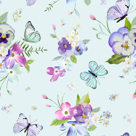 Illustration for Seamless Pattern with Blooming Flowers and Flying Butterflies in Watercolor Style. - Royalty Free Image