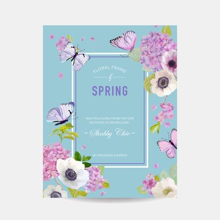Ilustración de Botanical Card with Hydrangea Flowers and Butterflies. Greeting Floral Postcard Vector illustration - Imagen libre de derechos